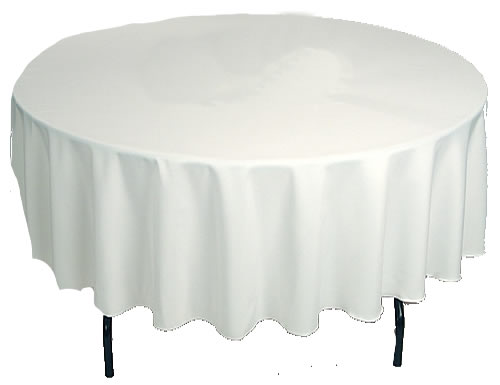 Round Table With Tablecloth.Tables Chairs Table Linen Decor Waverley Party Hire Melbourne